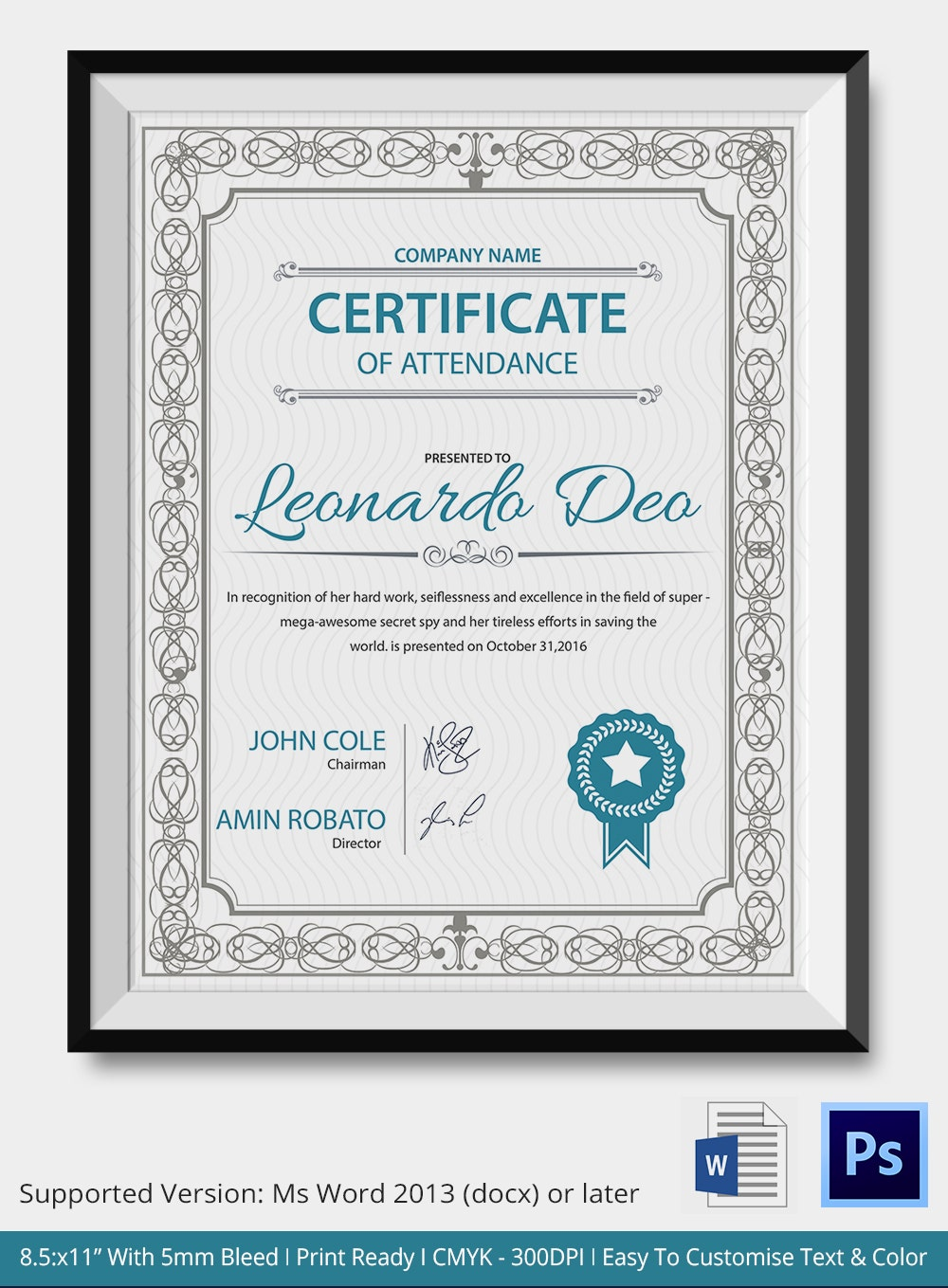 Editable Certificate of Attendance