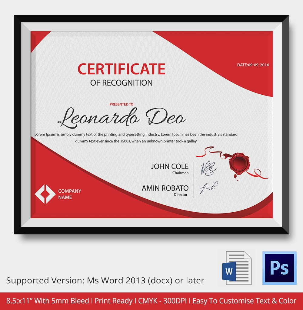 Word certificate template 31 free download samples for Template for certificate of appreciation in microsoft word