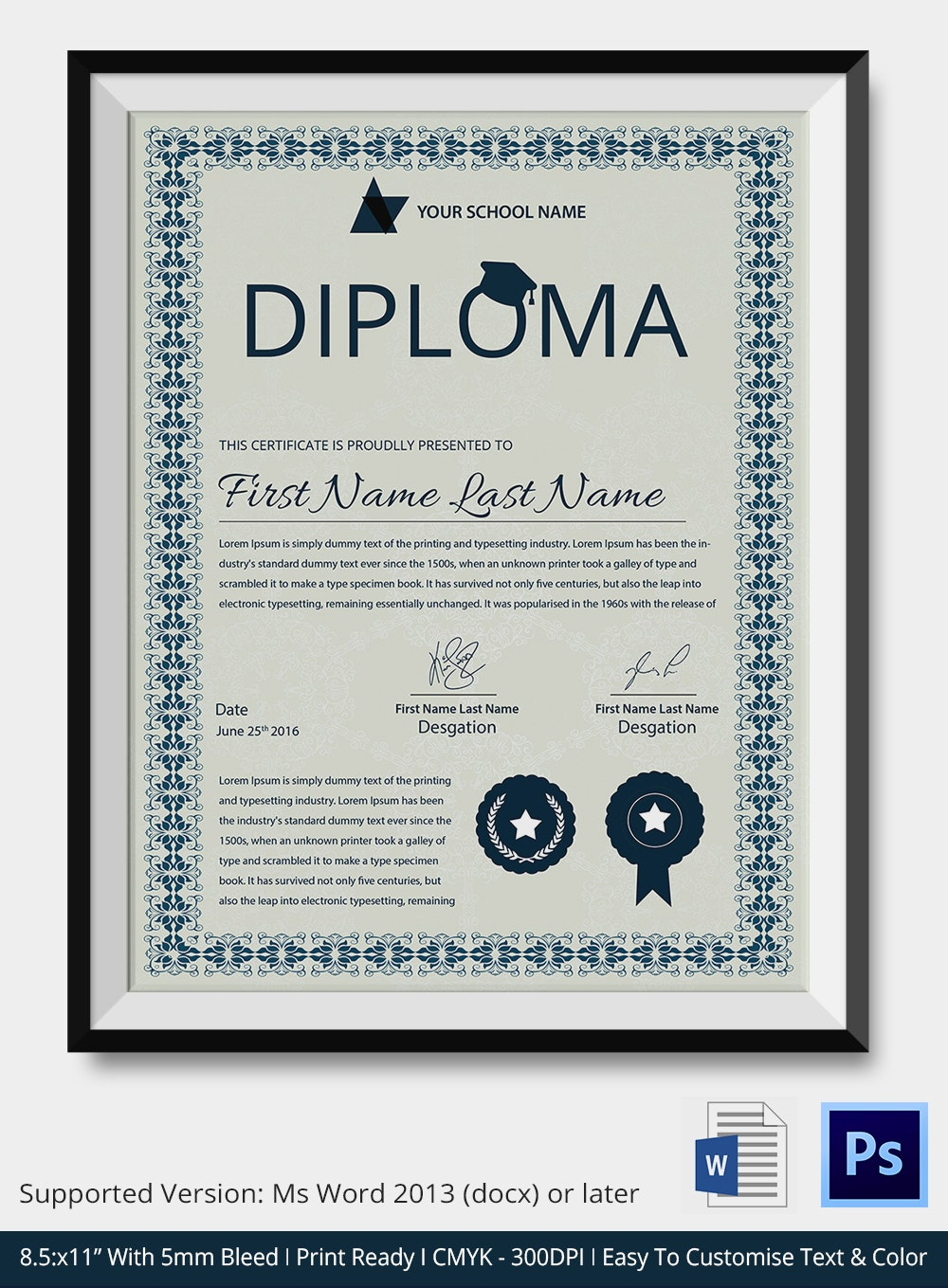 Word certificate template 31 free download samples for Diplomas and certificates templates