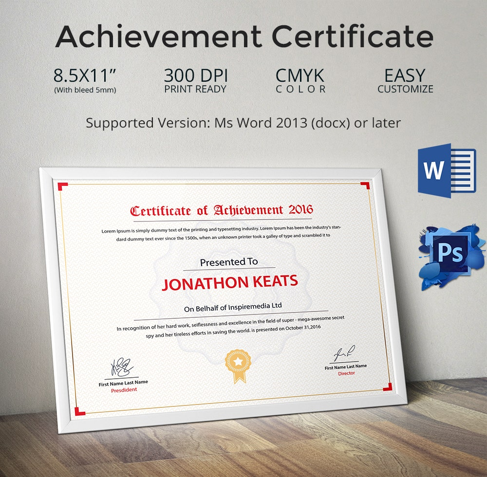 training certificate in word
