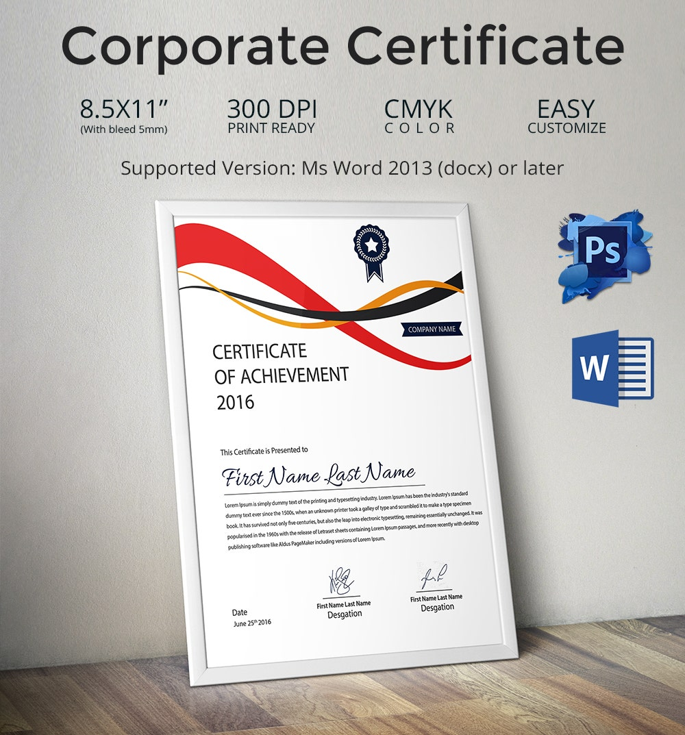 33 psd certificate templates psd format corporate achievement certificate template