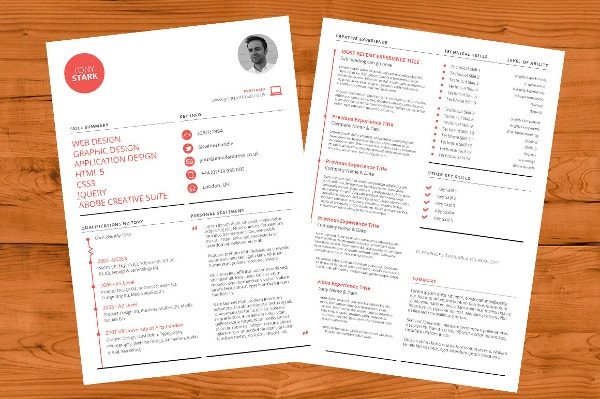 creative résumé template indd format download