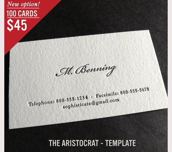 100 custom letterpress business cards