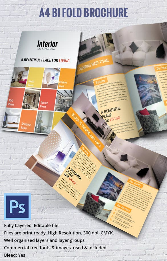17 interior decoration brochure free word psd pdf for Bi fold brochure template indesign free