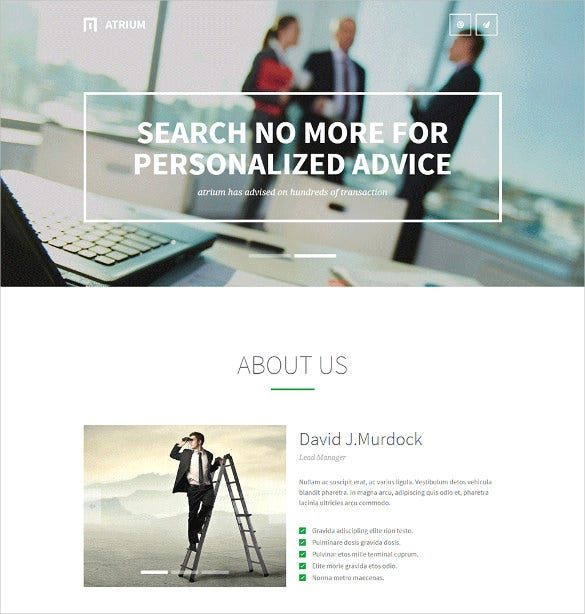 corporate responsive one page wordpress theme