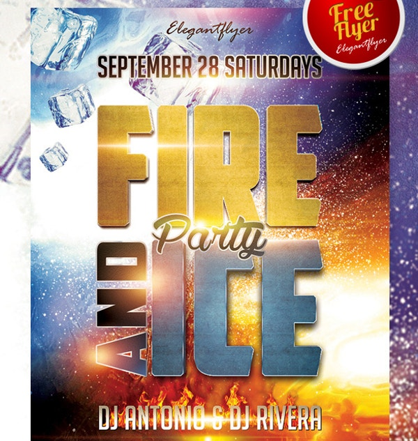 ice and fire party free club and party flyer psd template