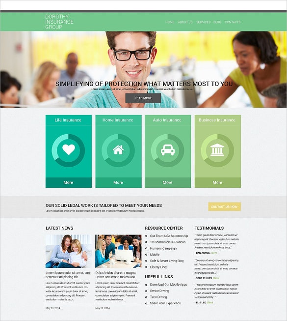 corporate online insurance services drupal template