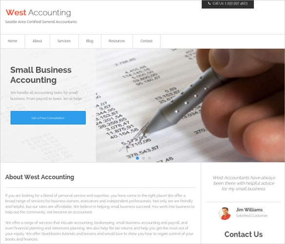 simple clean wordpress accounting theme