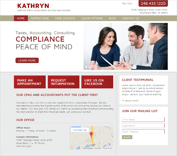 accountant website wordpress template