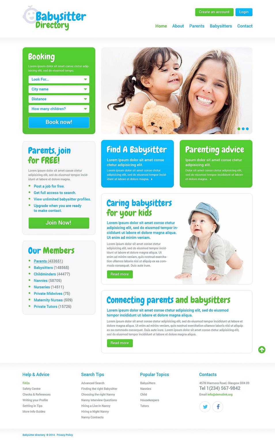 best baby mobile templates for baby websites babysitter responsive website demo