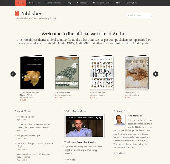13+ Book Publishers & Author WordPress Themes & Templates | Free ...