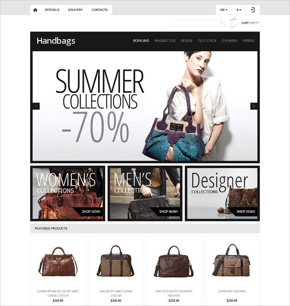responsive handbags boutique prestashop theme