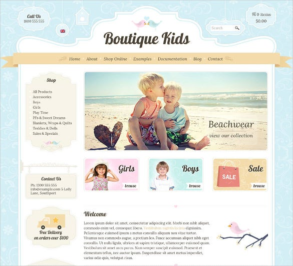 creative boutique kids website theme