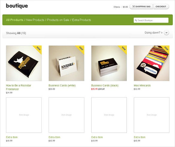 simple boutique shop website theme