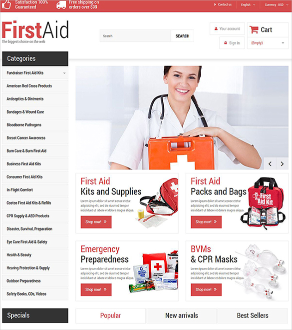 first aid store prestashop theme