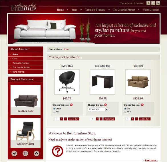 free dj furniture store template