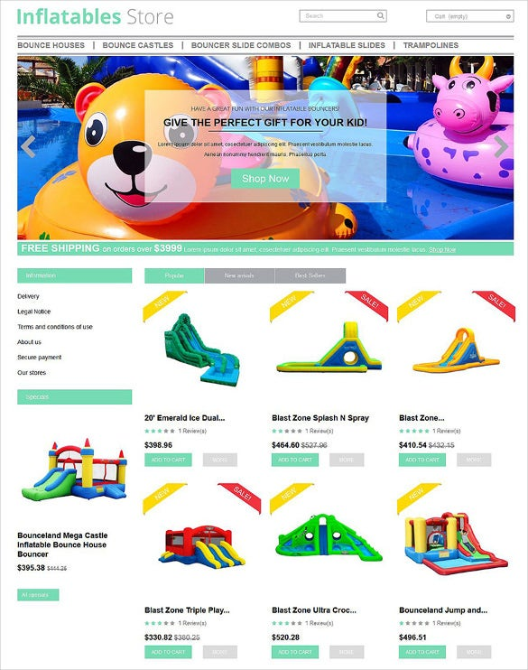 inflatables prestashop ecommerce theme