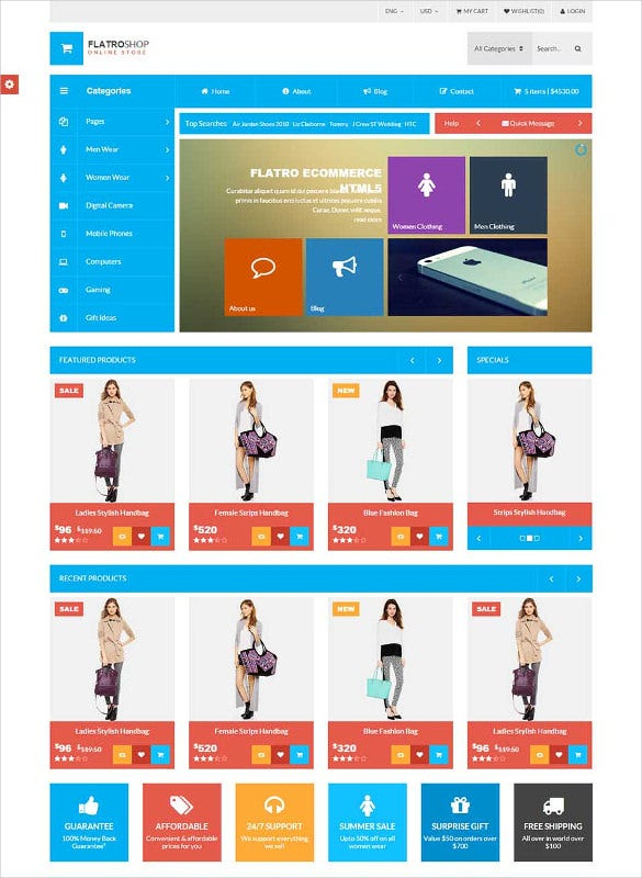 metro inspired flat ecommerce html5 template