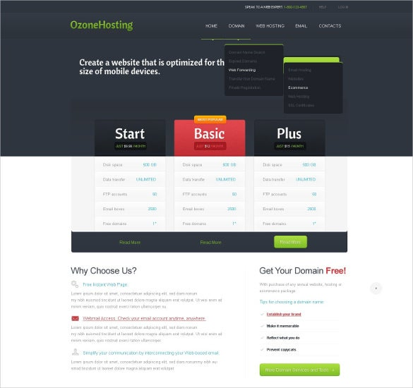 hosting company jquery html5 website theme