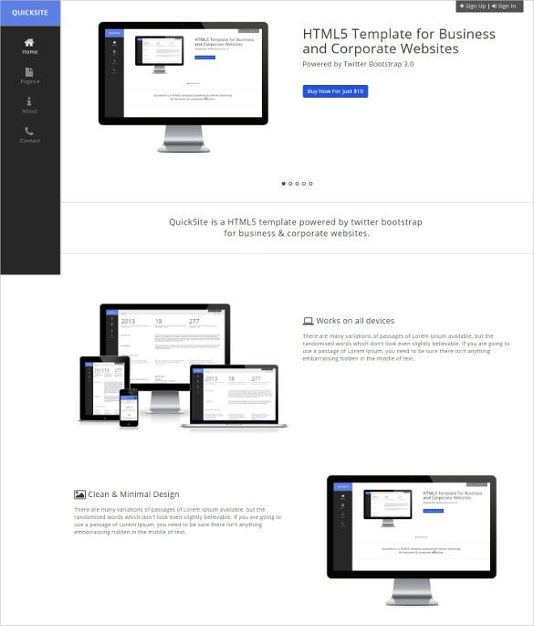 quicksite responsive template