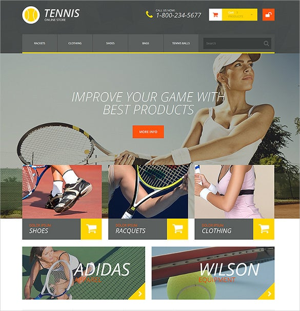 tennis accessories prestashop ecommerce theme