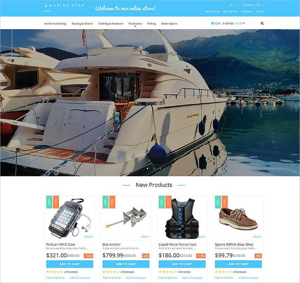 yachting store responsive ecommerce magento theme