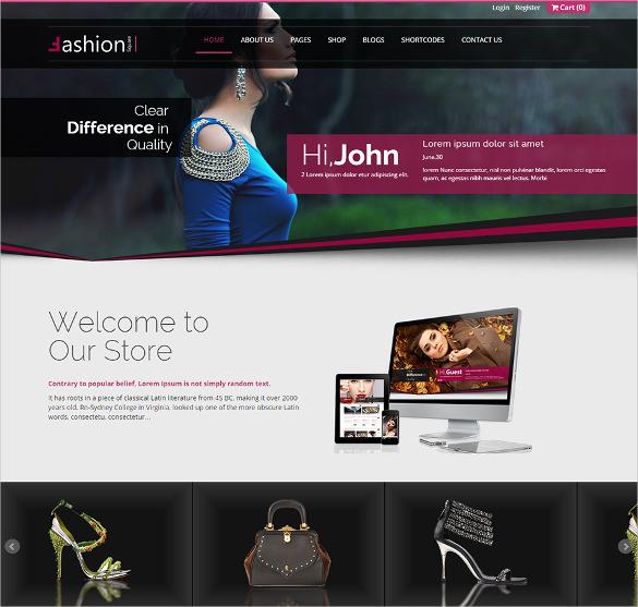 ashion shop responsive ecommerce html5 theme