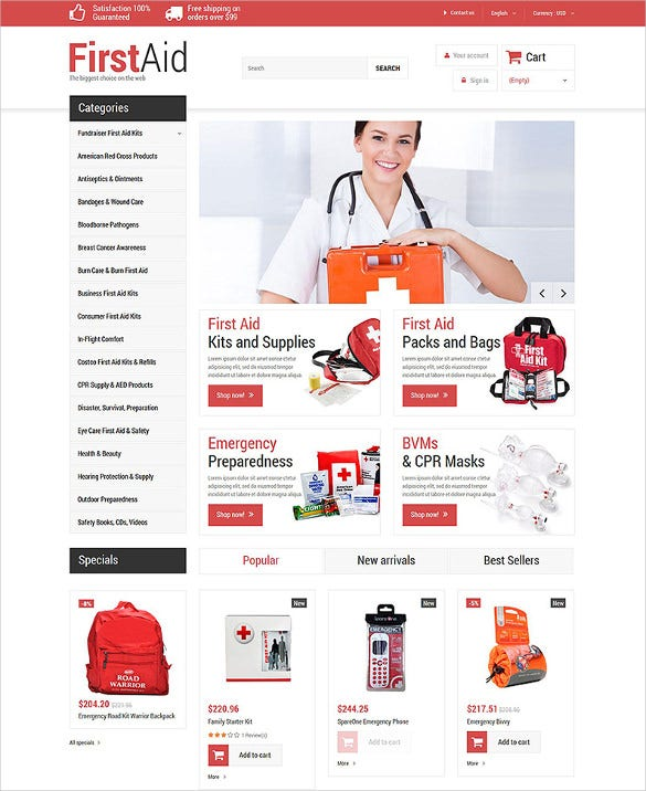 first aid store ecomerce prestashop theme