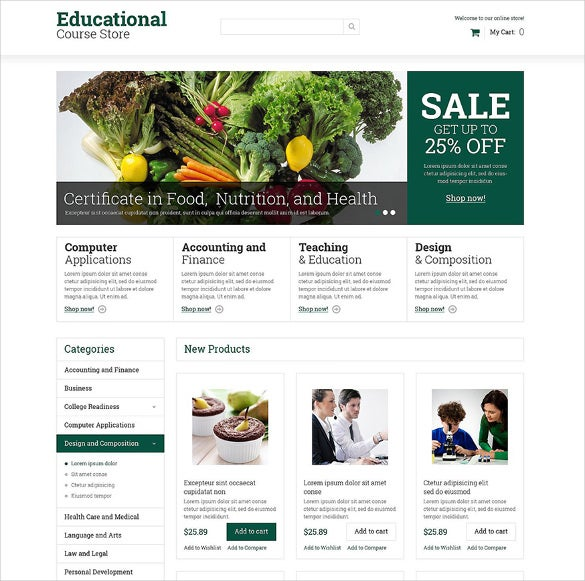 educational courses ecommerce magento theme