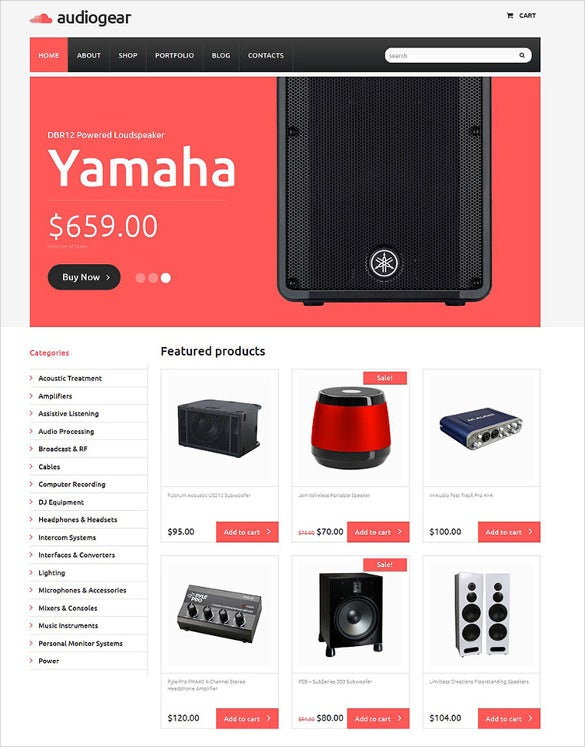 audiogear shop woocommerce html5 theme