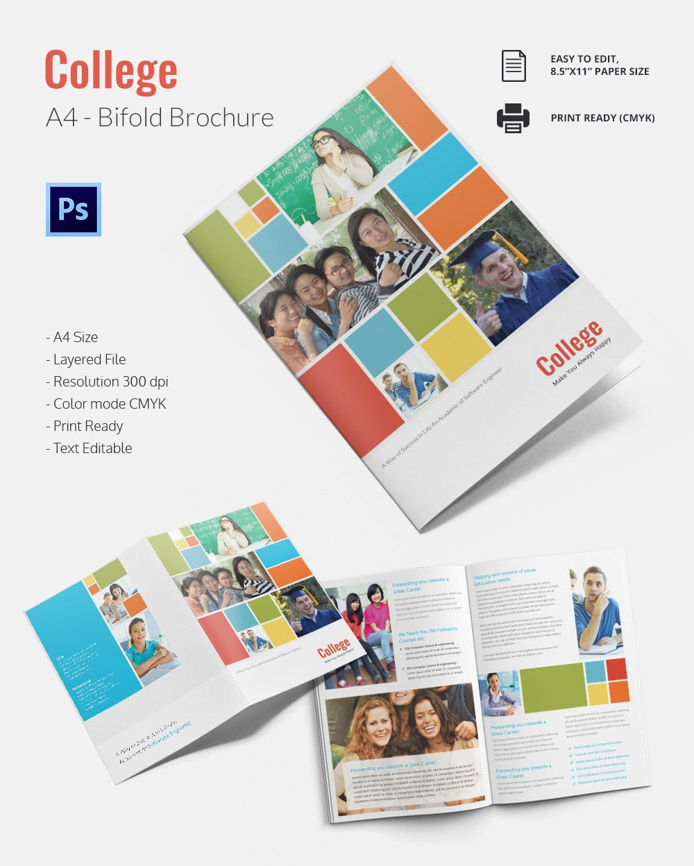 College brochure template 34 free jpg psd indesign for College brochure design pdf