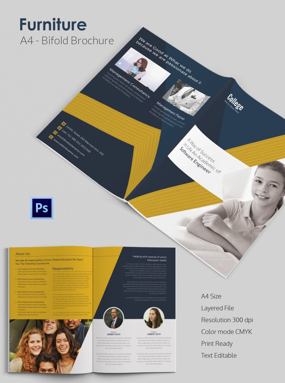 Editable College Bi Fold Brochure Template