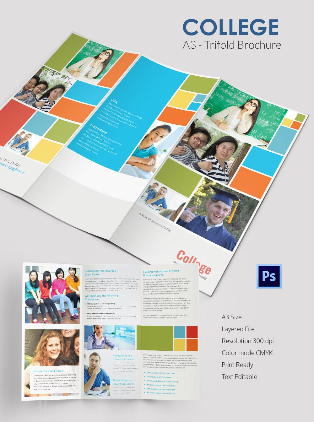College brochure template 34 free jpg psd indesign for Templates for tri fold brochures