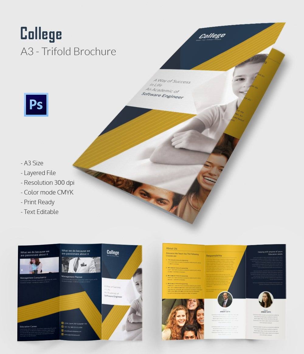 Editable College Tri Fold Brochure