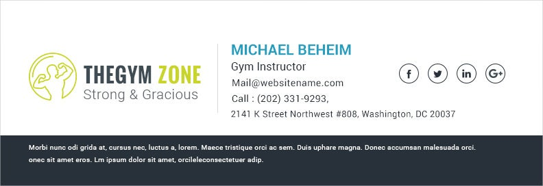 Email Signature for Gym Instructor