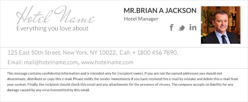 Professional Hotel Manager Email Signature with Hotel Name