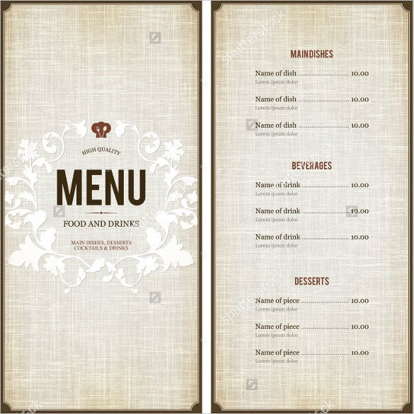 free menu design templates 38 menu design templates free psd eps documents