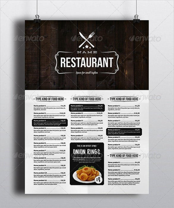 elegant food menu design template