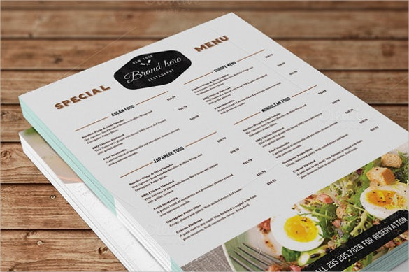 vintage food menu design download