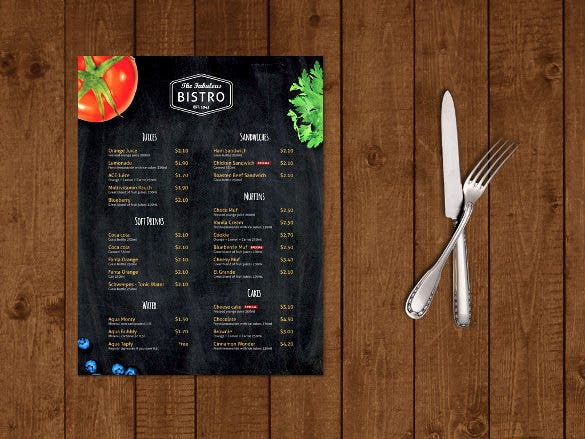 modern bistro cafe menu design template