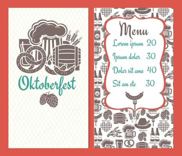 oktoberfest menu design template download