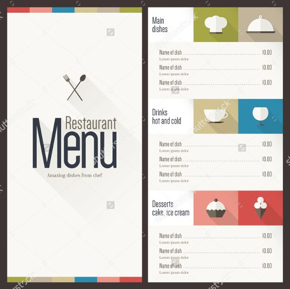 flat restaurant menu design template download