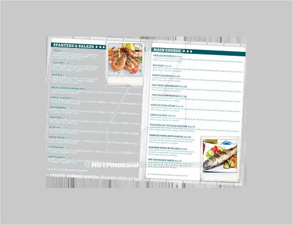 menu design for seafood template