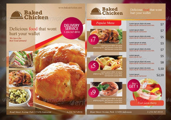 modern restaurant food menu design template