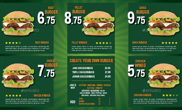menu design for burger template download