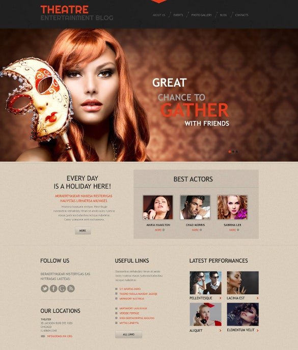 theater responsive wordpress website theme