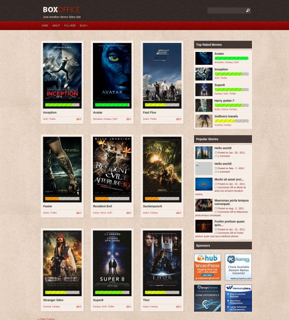 free box office cinema responsive website template