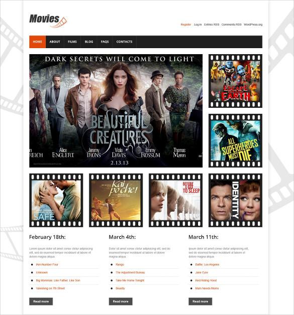 Responsive Clean Movie WordPress Template