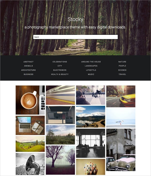 stock photography marketplace template