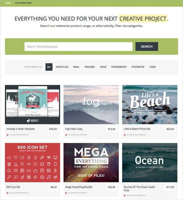 digital downloads premium marketplace wordpress template